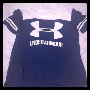 Blue and white color block Under Armour tee